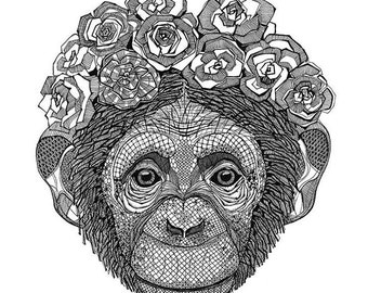 A3 poster with a monkey print. Great gift! For your home or cottage.