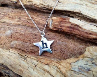 Solid silver handmade personalised star necklace