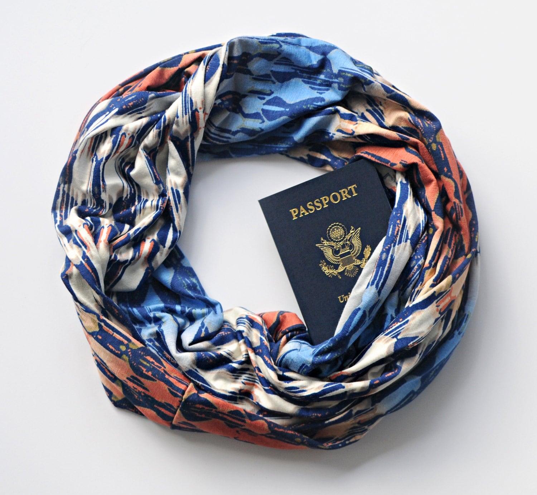 Ensenada scarf w hidden pocket travel hidden pocket scarf for Travel gear hidden pocket