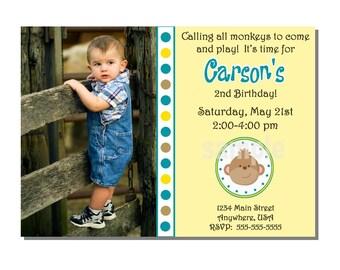 Mod Monkey Invitation Birthday Party - DIGITAL or PRINTED