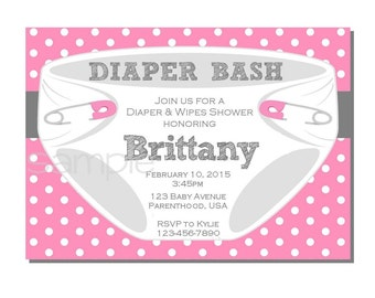 Diaper Invitation for Diaper Bash Baby Shower Pink and Gray - DIGITAL or PRINTED