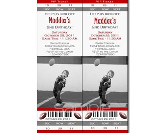 Football Ticket Invitation All Star MVP Birthday Party Gray and Red - Digital File
