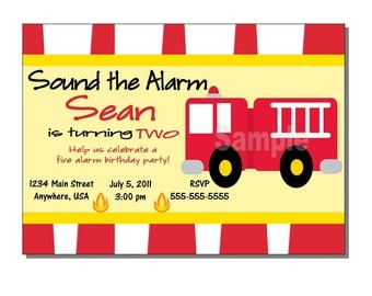 Fire Truck Invitation Birthday Party - DIGITAL or PRINTED