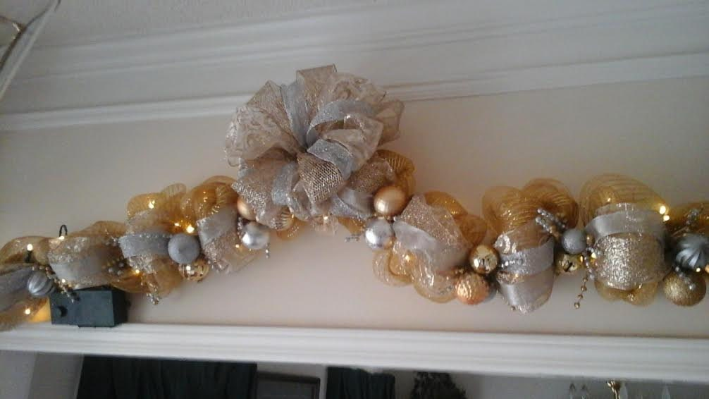 Christmas Swag, Garland Lighted Silver, Gold, Mesh, Wall Swag, Door Wreath, Mantel Garland, Staicase Railing Custom Made Holiday Decor