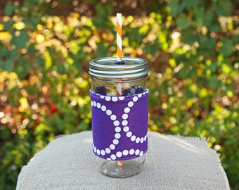 Mason Jar Tumbler 24 oz | Purple and White | Mason Jar To Go Cup | Monogrammed Tumbler | Free Personalization | Purple Pearl Bracelets