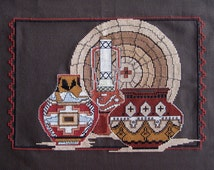 """Completed SOUTHWEST CROSS STITCH Embroidery 10.5 x 15.5"""" Native Painted Pots Still Life in Dk Brown Cotton Aida Cloth Cotton Floss Hand Made"""