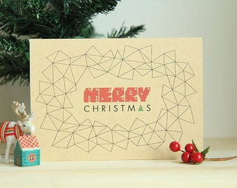 Instant Download | Printable Christmas Card | A Geometric Christmas | Geometric Christmas Typography