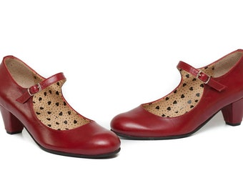 Red Leather Shoes, Red Pumps, Heeled Leather Pumps, High Heel Shoes , Free Shipping