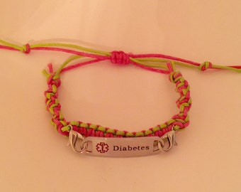 Pink and Green Medical Alert Diabetes Bracelet, Macrame, interchangeable, Adjustable