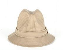 Vintage Mens Hat 7 1/8 / Beige Mens Fedora / Mens Traveler Country Gentleman Fedora Hat / Tan Men's Fedora / Womens Mens Fashion Fedora Men