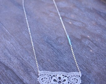 Beige Eyelet pendent Necklace Stirling Silver chain