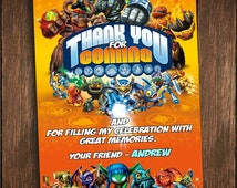 Skylanders Giants Skylanders Swap Force Thank You Card Birthday Invitation Photo Digital Personalized Printable