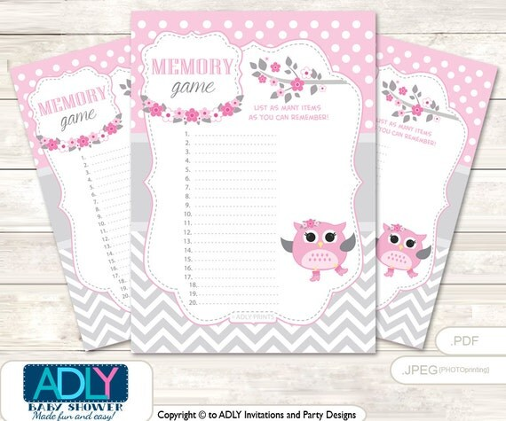 Items Similar To Spring Owl Memory Game For Baby Shower Printable Card For  Baby Owl Shower DIY Grey Pink Aa61bs16 On Etsy