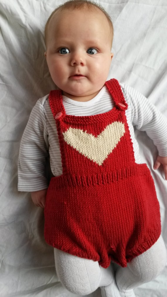 Baby romper baby sunsuit knitted heart baby onesie baby