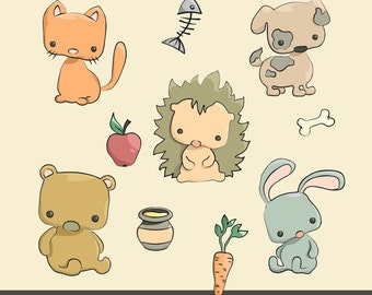 Animals and their food. Cute digital clipart. Perfect for creating cards, scrapbooking, stickers, paper crafts, T-shirt prints
