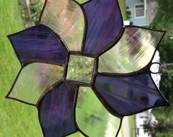 Stained glass suncatcher, purple iridescent, clear iridescent, bevel in miiddle