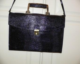 Vintage Vivace Envelope Shouder Purse , Faux Reptile on Black Leather