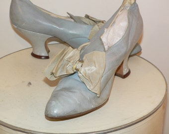 Edwardian 1920's Blue Leather Shoes with Blue Silk Bows