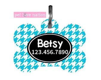 Personalized Pet Tag, Dog Tag, ID Tag, Blue Houndstooth Pet Tag With Name And Phone Number