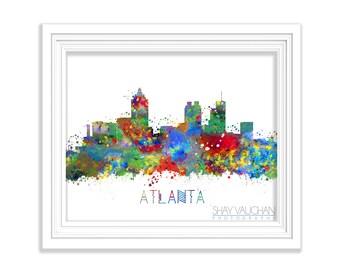 Atlanta Skyline Art Print Georgia Watercolor Print Atlanta Cityscape Poster Illustration Atlanta Painting Home Decor Wall Art Gift (No.222)