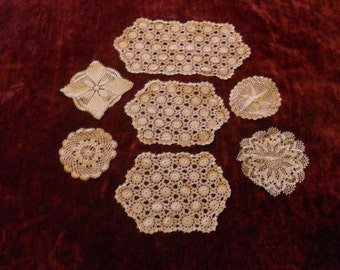 Collection of 7 Hand Crocheted Vintage Doilies