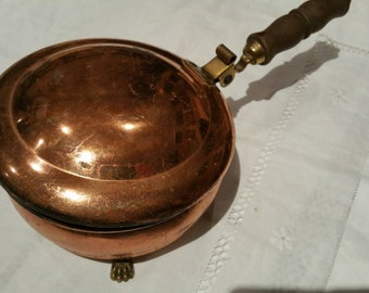 Vintage Copper Pan With Wood Handle Lid And Claw Feet Made in Holland