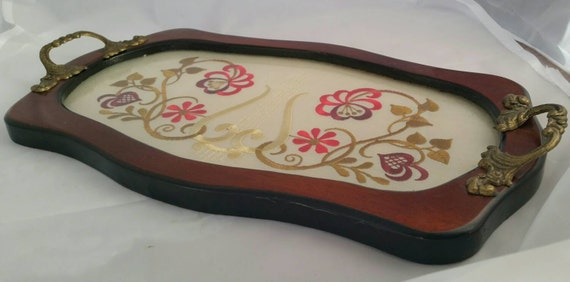 Vintage Wooden Serving Tray Embroidery Under Glass With Ornate