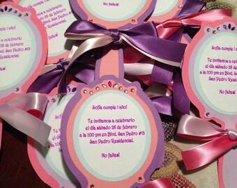 Custom made 'sofia the first' birthday party invitations - set of 6