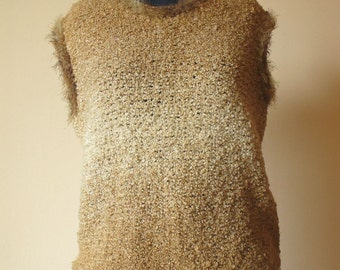 Caramel Unique Hand Knit Women's Sleeveless Sweater/ Fluffy Jumper / Brown Hand Knit Women's Sweater / Hand Knit Sweater