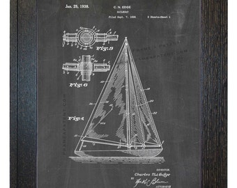 Framed Patent Print - Sailboat WITH Real Rustic Wood Frame - Framed Patent Art