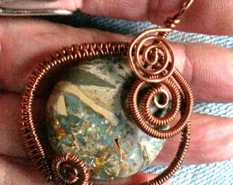 Copper Freeform Wire Wrap Pendant with Impression Jasper Wire Wrap Jewelry Wire Wrap Handmade
