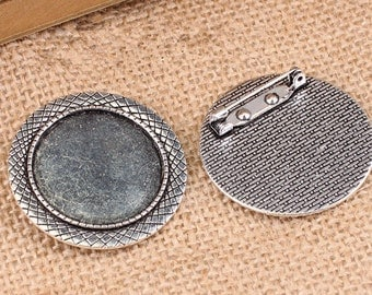 Wholesale 20pcs Handmade Filigree Wax Snake Brooch/Pin/Breast Pin Pendant Trays  -30mm Bezel Cabochon Settings - Pendant Tray Blanks