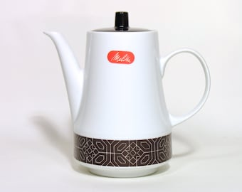 Melitta Porcelain Coffee pot - Made in Germany - 1960 - German Retro Tableware - Vintage Home Decor - Collectible Coffee Pot