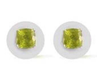 Hebei Peridot Cushion Stud Earrings Platinum Overlay Sterling Silver Nickel Free TGW 2.00 Cts.