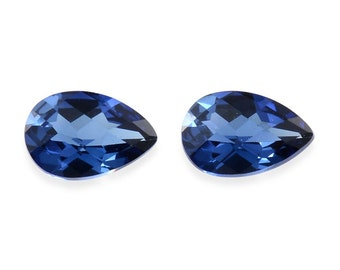 Blue Sapphire Synthetic Lab Created Loose Gemstones Set of 2 Pear Cut 1A Quality 6x4mm TGW 0.85 cts.