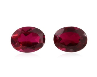 Blazing Red Triplet Quartz Loose Gemstone Oval Cut Set of 2 1A Quality 8x6mm TGW 2.55 cts.