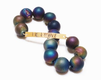 BE BRAVE Rainbow Druzy Beaded Bracelet, BT104