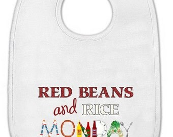 Baby Bib - New Orleans Graphic - Red Beans and Rice Monday - Babies & Toddlers - Plain or Ruffle Edge - Made to Order