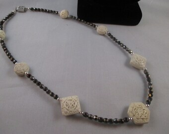 White Cinnabar Beads, Czech Black Crystal and Silver Choker Necklace