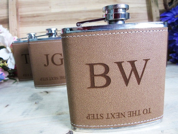 Set of 6 Groomsmen Gift Flask with Initials Design, Best Man, Father ...