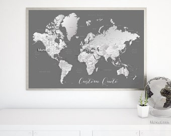Mens personalized map, personalized couple names map, husband gift, boyfriend gift. Custom quote - PRINTABLE world map with cities