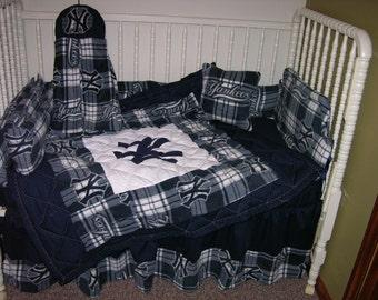 New Crib Nursery Bedding m/w NY Yankees Fabric