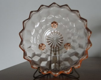 Indiana Glass Whitehall Three Footed Candy Bowl in Peach Color Cube / Optic 50's