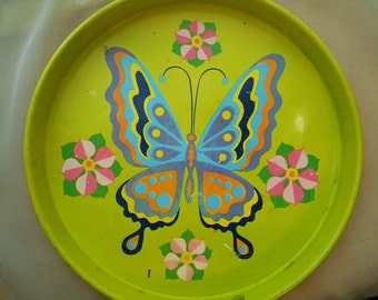 Yellow Butterfly Tin Tray