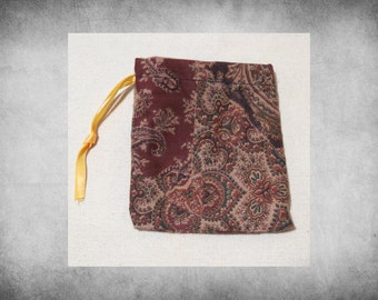 """Printed Fabric - 4x4"""" Brown Patchwork Paisley drawstring bag. Great for crafts, storage, and easy gift wrap!  BAG-154"""