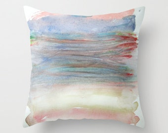 Watercolor pillow Pastels in a Bundle Decorative pillow Statement cushion cover Accent pillow Blush Pink Pastel blue Green Red Cloudy Washed