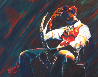 """Saxopone Player , Acrylic Painting , Musian , Orignial Painting , Stretched Canvas , 16"""" x 20"""""""