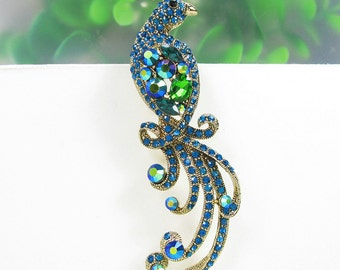 Gold-Tone Blue Green Turquoise Crystal Rhinestone Brooch Pin Phoenix Brooch Phoenix Crystal Brooch Animal Brooch Pin Wedding Jewelry Supply