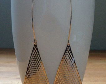 Long, elegant gold triangle mesh earrings