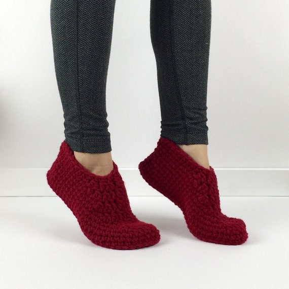 Items similar to women 39 s crochet red slippers knitted for Minimalist house slippers